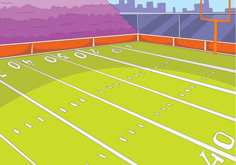 Cartoon background of rugby stadium.