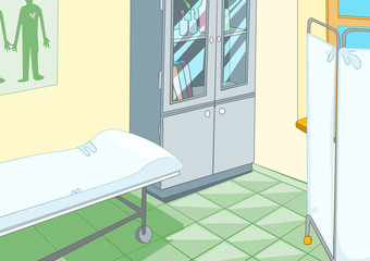 Cartoon background of medical office interior.