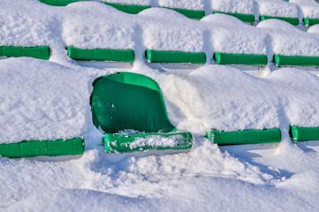Foto op Plexiglas Stadion Background chairs at stadium , winter