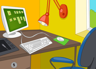 Cartoon background of office workplace.