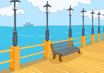 Cartoon background of embankment.