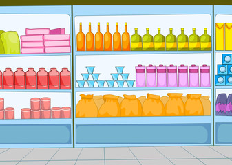 Cartoon background of supermarket.