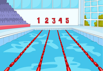 Cartoon background of swimming pool.