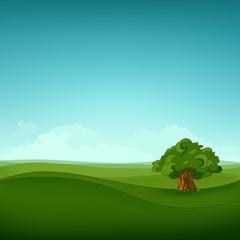 Cartoon background of summer field landscape.