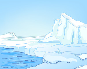 Cartoon background of glacier landscape.