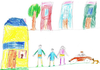 Child's drawing a happy family and car