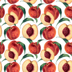 Hand drawn watercolor seamless pattern with peaches. Vintage fruit style. Botanical Illustration isolated on white. Design for print, textile, background. Bright color.