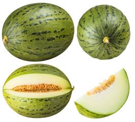 Group of green melons isolated on white background