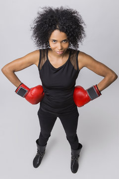 Top view of African American boxer girl
