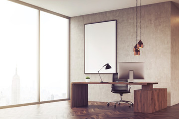 Side view of CEO office with panoramic window and poster, toned