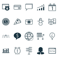 Set Of 20 Universal Editable Icons. Can Be Used For Web, Mobile And App Design. Includes Icons Such As Info Pointer, Sliced Pizza, Business Woman And More.
