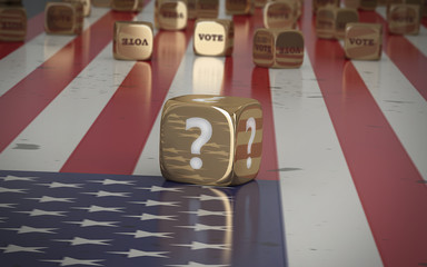 Vote election gold dice on the flag of the United States of America