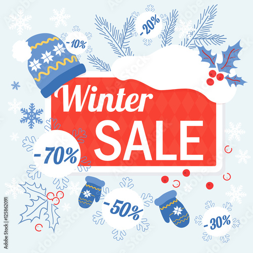 big winter christmas sale design template with hat glowes and sale