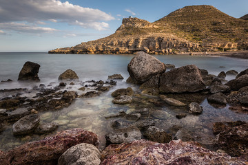 Landscape in the Cala del Cuervo. Natural Park of Cabo de Gata. Spain.