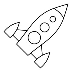 Universal rocket icon. Outline illustration of universal rocket vector icon for web