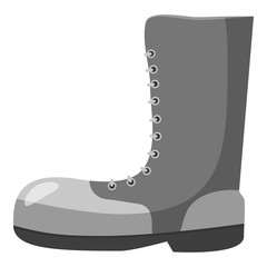 Army boots icon. Gray monochrome illustration of army boots vector icon for web