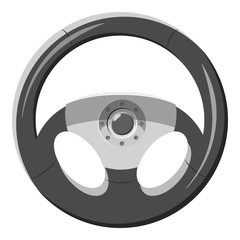Car rudder icon. Gray monochrome illustration of car rudder vector icon for web