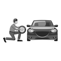 Changing wheel on car icon. Gray monochrome illustration of changing wheel on car vector icon for web