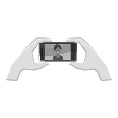 Hands taking pictures on phone icon. Gray monochrome illustration of hands taking pictures on phone vector icon for web