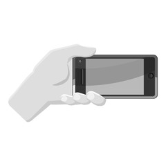 Hand holding smartphone icon. Gray monochrome illustration of hand holding smartphone vector icon for web
