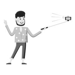 Man holding selfie stick icon. Gray monochrome illustration of man holding selfie stick vector icon for web