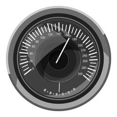 Speedometer icon. Gray monochrome illustration of speedometer vector icon for web