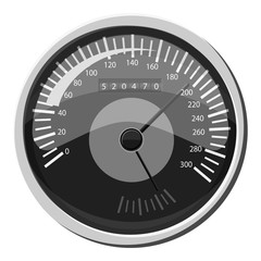 Car speedometer icon. Gray monochrome illustration of car speedometer vector icon for web