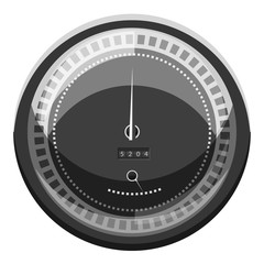 Speedometer to calculate speed icon. Gray monochrome illustration of speedometer to calculate speed vector icon for web