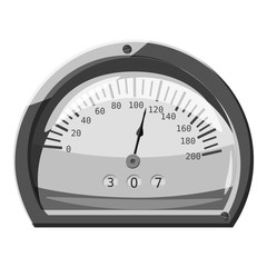 Small speedometer icon. Gray monochrome illustration of small speedometer vector icon for web