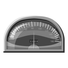 Speedometer for cars icon. Gray monochrome illustration of speedometer for cars vector icon for web
