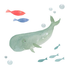 Funny whale and fish on a white background, watercolor