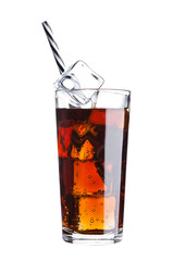 Glass of cola soda drink cold with ice cubes