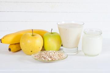 Smoothie with apple,banana, yogurt and oatmealon