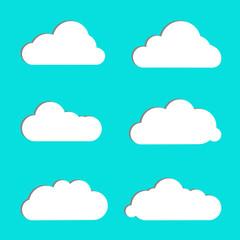 Cloud vector icon set white color on blue background. Different nature cloudscape weather symbols. Vector illustration