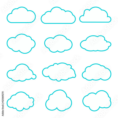 Collection Of Clouds Collection Thin Lines Icons Cloud Icons For