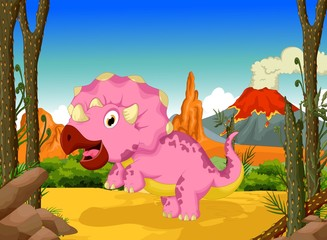 funny dinosaur cartoon in the jungle landscape background