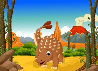 funny Ankylosaurus Dinosaur cartoon with forest landscape background