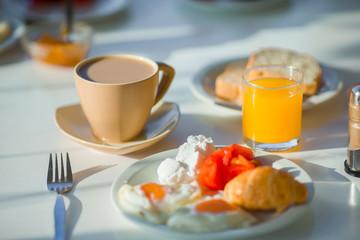 Healthy breakfast in outdoor cafe