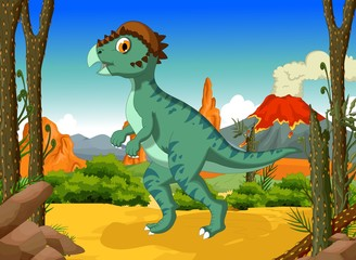 funny Dinosaur Stegoceras cartoon with forest landscape background