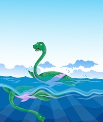 funny two dinosaur cartoon swimming in the sea