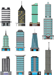 different kinds of buildings cartoon