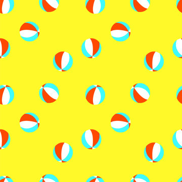 Seamless vector pattern with red, white and blue beachballs on yellow background