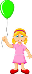 funny little girl holding a green balloon