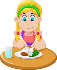 cute little girl cartoon has breakfast