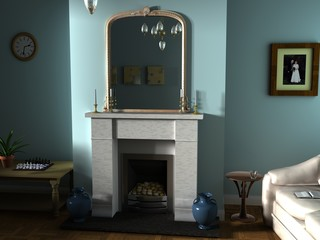 3d render of room with large mirror above mantle piece