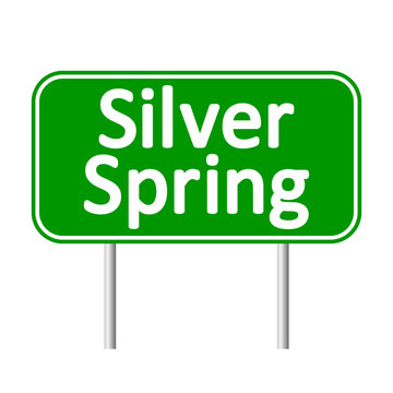 Silver spring green road sign isolated on white background