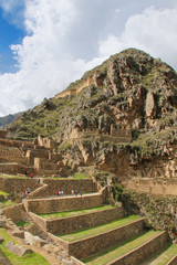 Inca Fortress with Terraces and Temple Hill in Ollantaytambo, Pe