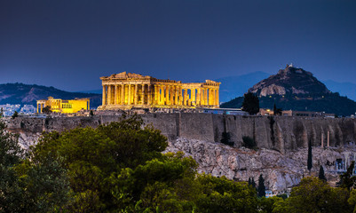 Poster Athenes Parthenon of Athens at dusk time, Greece