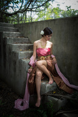 Asian woman wearing dress traditional Thai costume ,beautiful wo