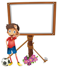 Board design with soccer player